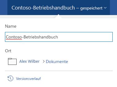 """Das Dialogfeld """"Dateioperationen"""" wird durch Klicken auf den Dokumenttitel am oberen Rand des Fensters aktiviert."""