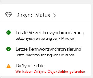 "Die Kachel ""DirSync-Status"" in Admin Center Preview"