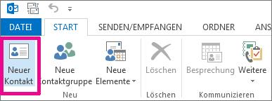 """Schaltfläche """"Neuer Kontakt"""" auf der Registerkarte """"Start"""""""