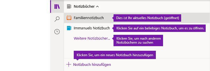 Liste der Notizbücher in OneNote für Windows 10