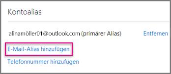 Hinzufügen eines E-Mail-Alias