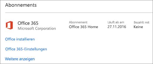 Wenn die Office 365-Testversion auf Ihrem neuen PC installiert ist, läuft das Abonnement an dem angegebenen Datum ab.