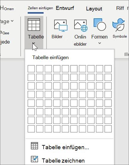 Einfügen von Tabellen in Word
