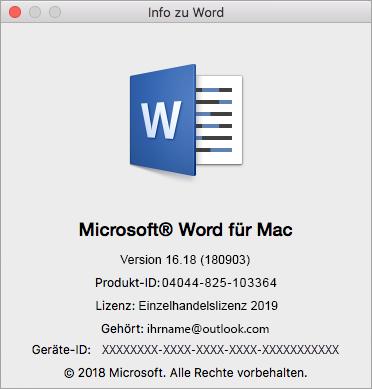"Dialogfeld ""Über Word"""