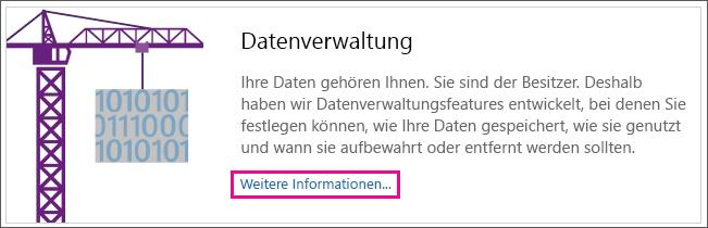 """Zeigt den Bereich """"Datenverwaltung"""" der Seite mit hervorgehobenem Link """"Weitere Informationen""""."""