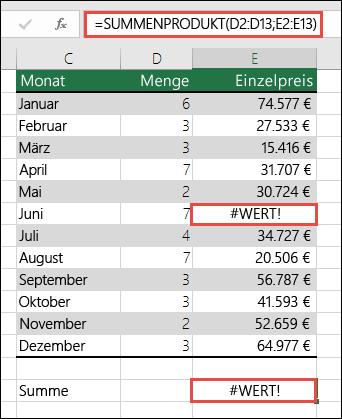 Die Formel in Zelle E15 liefert einen #WERT!-Fehler, weil in Spalte E ein #WERT!-Fehler auftritt.