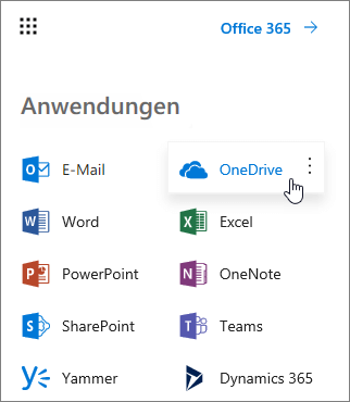 App-Startfeld in Office 365