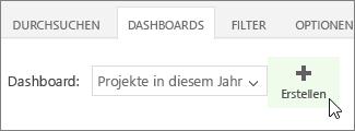 """Schaltfläche """"Erstellen"""" auf der Registerkarte """"Dashboard"""""""