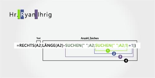 Formel zum Extrahieren eines Vornamens, dem ein Präfix voransteht