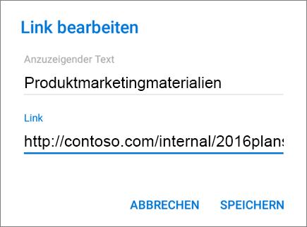"Abbildung des Menüs ""Link hinzufügen""."