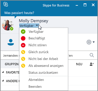 Screenshot des Skype for Business-Fensters mit geöffnetem Statusmenü