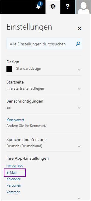 """Der Screenshot zeigt den Bereich """"Einstellungen"""" mit hervorgehobener E-Mail-Option im Abschnitt """"Ihre App-Einstellungen""""."""