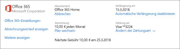 """Screenshot der Seite """"Dienste und Abonnements"""" mit den Abonnementdetails für ein Office 365 Home-Abonnement"""
