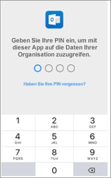 Geben Sie auf Ihrem IOS-Gerät eine PIN für den Zugriff auf Office-Apps ein.