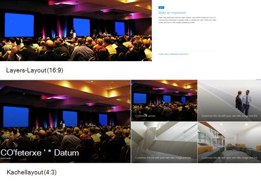 Beispiel für Bilder von Hero-Web-Web-Webs in Den Layouts 'Ebenen' und 'Kacheln'