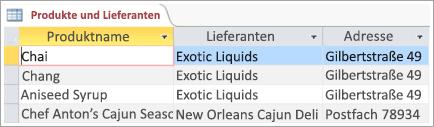 """Bildschirmausschnitt der Daten zu """"Produkte"""" und """"Lieferanten"""""""