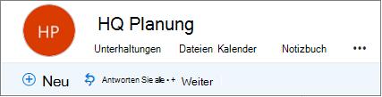 Dies ist wie die Kopfzeile Gruppen in Outlook im Web aussieht