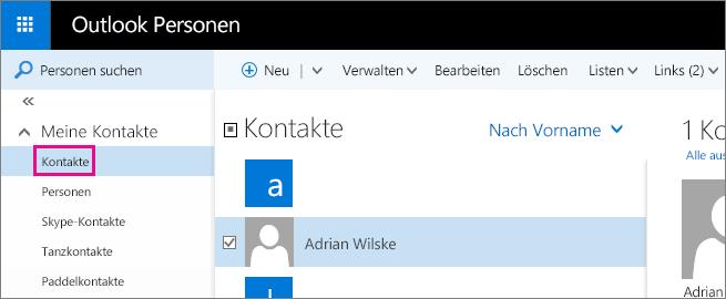 """Screenshot der Outlook-Seite """"Personen"""". Im linken Bereich wird """"Meine Kontakte"""" erweitert und darunter der Ordner """"Kontakte"""" angezeigt."""