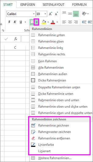 """Dropdownmenü """"Rahmen"""" zur Auswahl von Optionen zum Zeichnen von Rahmen"""