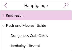 Seitenliste mit reduzierten Unterseiten