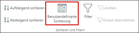 """Benutzerdefinierte Sortieroption in Excel auf der Registerkarte """"Daten"""""""
