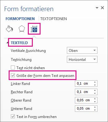 """Auswählen von """"Größe der Form dem Text anpassen"""" im Bereich """"Form formatieren"""""""