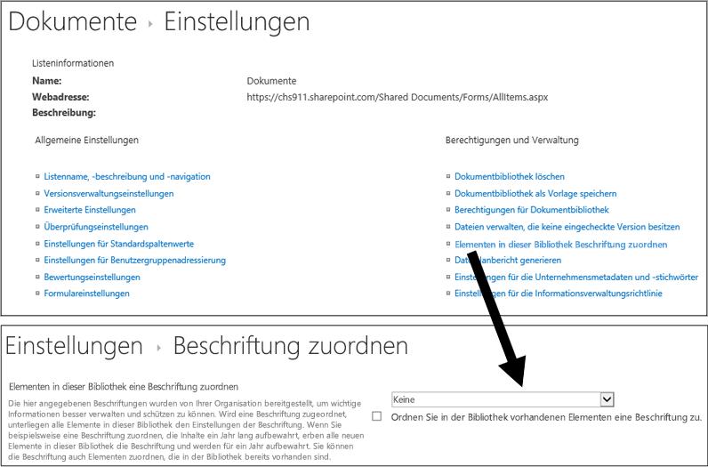 """Option """"Bezeichnung anwenden"""" auf der Seite mit den Bibliothekseinstellungen"""
