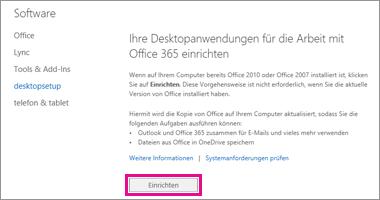 Desktopanwendungen für die Arbeit mit Office 365 einrichten
