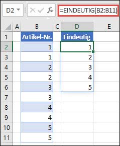 Beispiel für die Verwendung von =EINDEUTIG(B2:B11), um eine eindeutige Liste von Zahlen zurückzugeben
