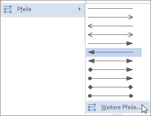"""Zum Anpassen einer Linie oder eines Pfeils auf """"Weitere Pfeile"""" klicken"""