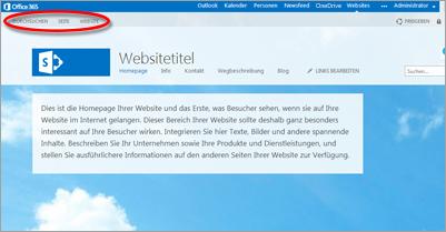 Standardseitenlayout für die öffentliche Office 365-Website