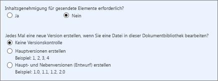 Versionsverwaltung und Genehmigung deaktiviert