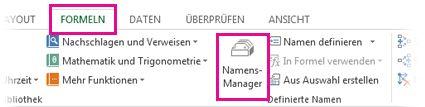 Klicken Sie auf die Registerkarte 'Formeln' und dann auf 'Namens-Manager'