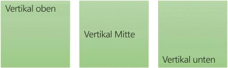 Drei Optionen für vertikale Textausrichtung: Mitte, oben und unten