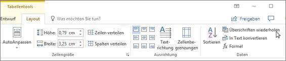 Screenshot zeigt den Cursor, der auf die Option zum Wiederholen von Kopfzeilen in Tabellen Tools auf der Registerkarte Layout in der Gruppe Daten verweist.