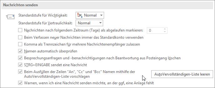 """Wählen Sie """"Datei"""", """"Optionen"""", """"E-Mail"""" aus, und deaktivieren Sie dann unter """"Nachrichten senden"""" das Kontrollkästchen """"AutoVervollständigen Liste""""."""