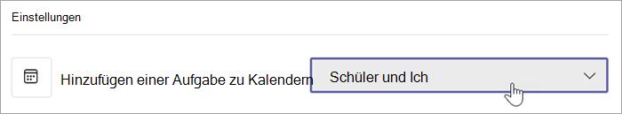 """Fügen Sie Aufgaben zu Kalender-Dropdowns hinzu, mit der Option """"Kursteilnehmer und ich"""" ausgewählt."""