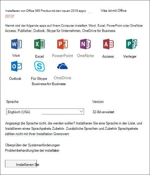 """Wenn Sie eine Wahl haben, wählen Sie die Office-Version aus, die Sie installieren möchten, wählen Sie eine Sprache aus, und klicken Sie dann auf """"Installieren""""."""