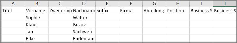 Ein Beispiel dafür, wie eine CSV-Datei aussieht, nachdem Kontakte aus Outlook exportiert wurden