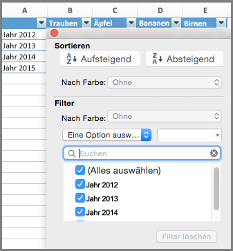 Excel für Mac-Filter für Diagramm
