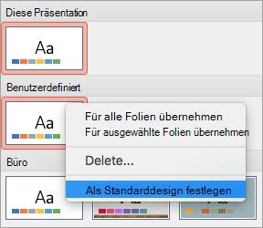 """Option """"Als Standarddesign festlegen"""" für ein benutzerdefiniertes Design"""