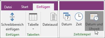 """Screenshot der Schaltfläche """"Datum und Uhrzeit"""" in OneNote2016"""