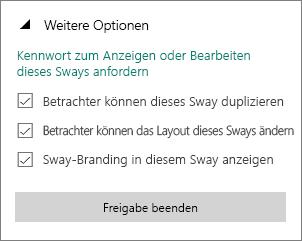 """Option """"Kennwort zum Anzeigen oder Bearbeiten dieses Sways anfordern"""""""