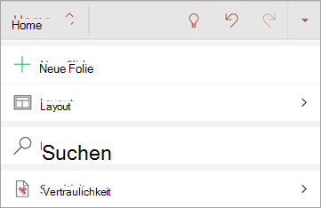 """Screenshot der Schaltfläche """"Vertraulichkeit"""" in Office für Android"""