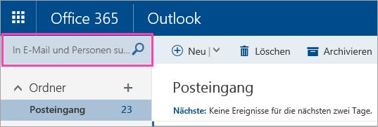 """Screenshot des Felds """"E-Mails und Personen suchen"""""""