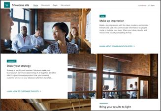 Abbildung der Vorlage für eine Showcase-Kommunikationswebsite