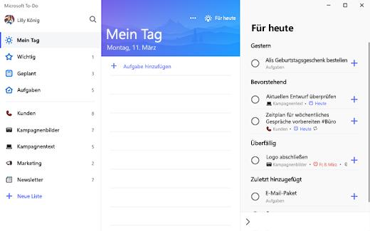 """Screenshot von To-Do unter Windows 10, auf dem """"Mein Tag"""" mit Vorschlägen für """"Heute"""" gruppiert nach """"Gestern"""", """"Bevorstehend"""", """"Überfällig"""" und """"Zuletzt hinzugefügt"""" angezeigt wird."""