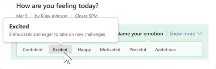 """Screenshot der Kursteilnehmeransicht von Reflect. Ein Mauszeiger, der über dem Wort """"aufgeregt"""" schwebt, und eine Sprechblase, welche die Definition """"Enthusiastisch und bereit, neue Herausforderungen anzunehmen """" anzeigt"""