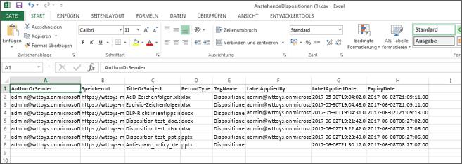 Exportierte Anordnungsdaten in Excel