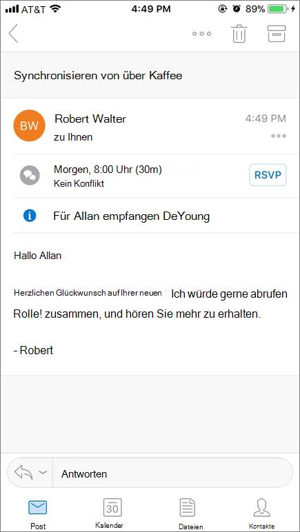 Screenshot zeigt Bildschirm des mobilen Geräts mit e-Mail-Elements an.